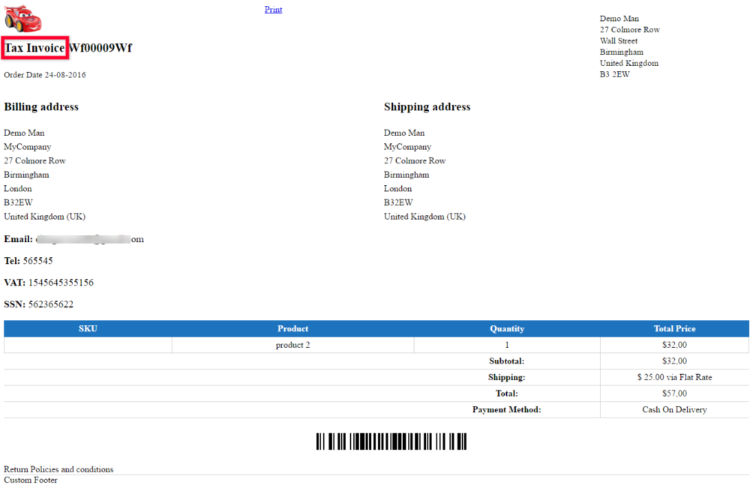Changed Invoice Name
