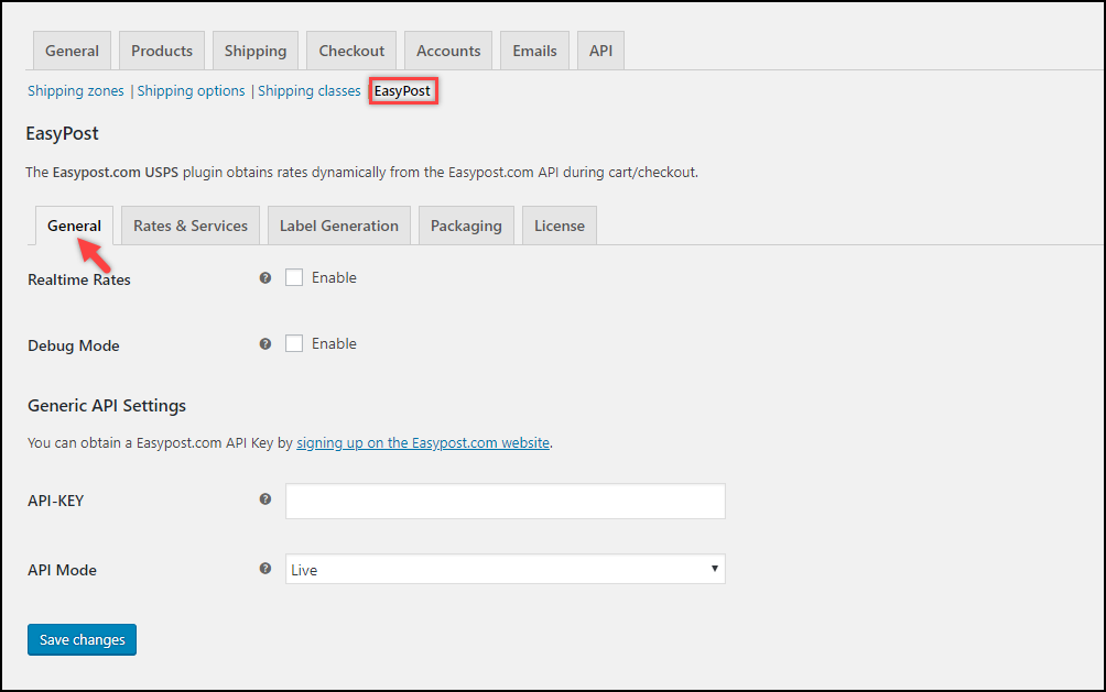 WooCommerce EasyPost Plugin General Settings