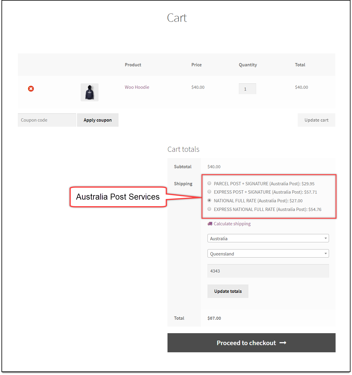 WooCommerce Australia Post Shipping Rates Checkout