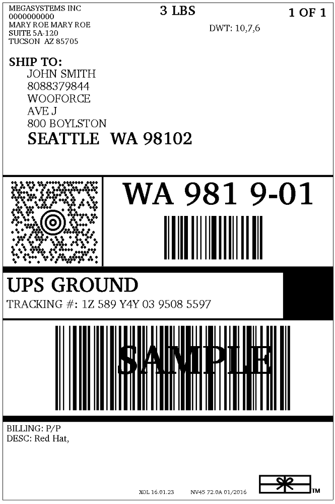 Superb image in printable ups label
