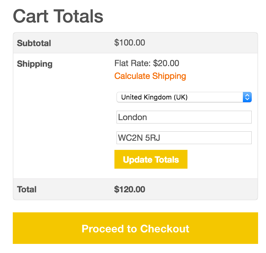 Cart - Shipping Options - Rest of World