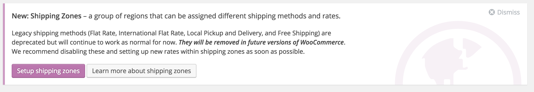 Setup Shipping Zones Notice