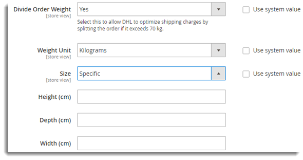 Weight and Size Settings