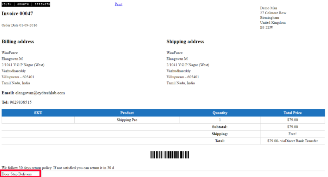 woocommerce print invoice packing slip delivery note label