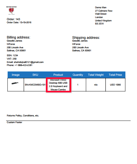 Packing slip with enable full product name option