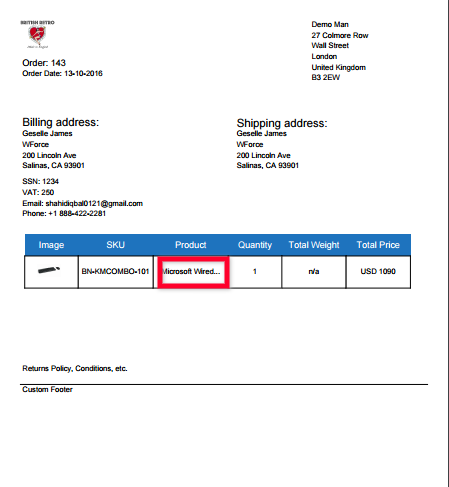 Packing slip without enable full product name option