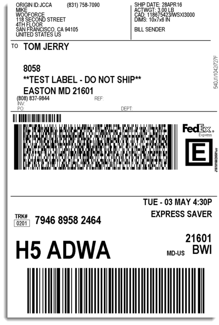 Woocommerce fedex shipping plugin with print label xadapter for Fedex label template word