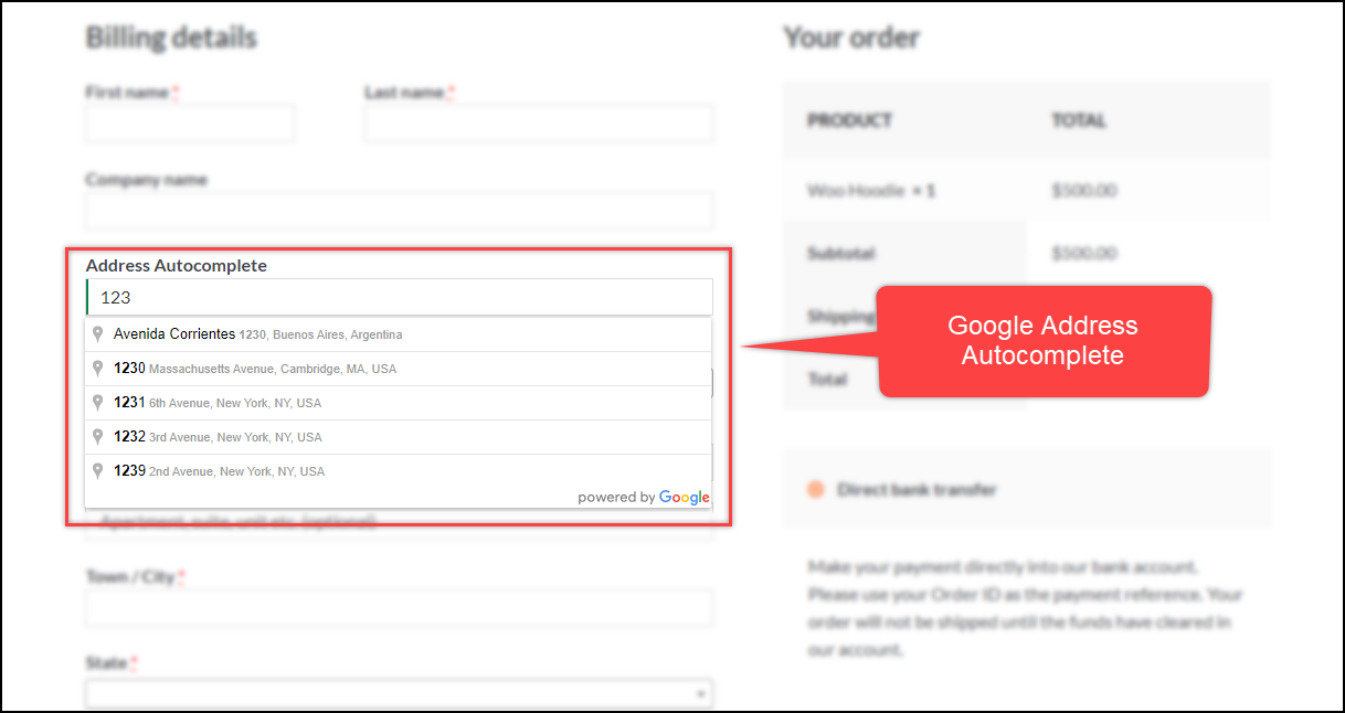 WooCommerce Google Address Autocomplete Field