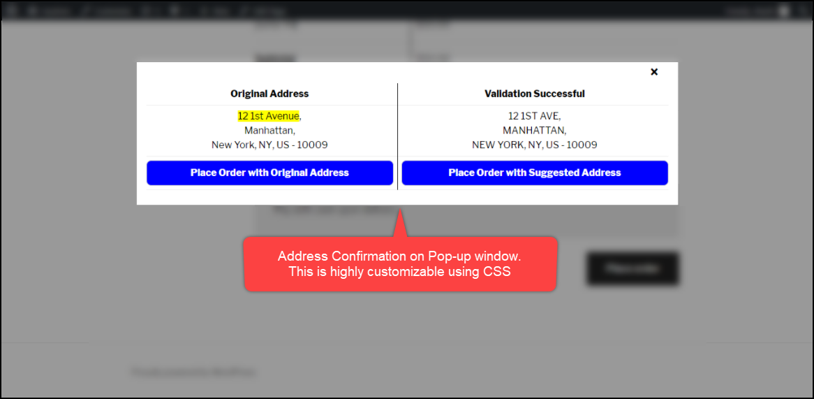 WooCommerce Address Validation on Pop-up Window Customizable