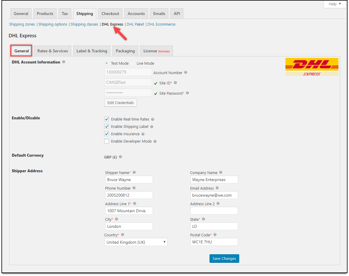 Dhl air express airway bill instructions - Woocommerce Dhl Express General Settings