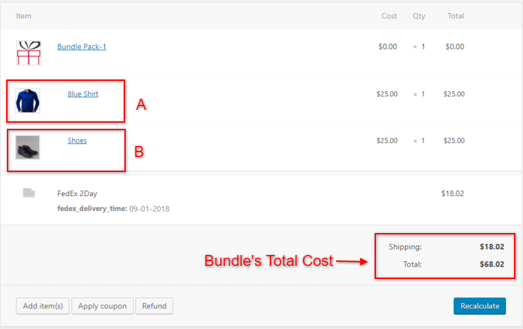 Bundled Product on order's page