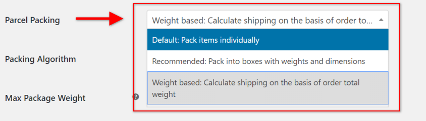 WooCommerce UPS Shipping plugin's packing methods