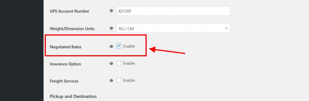 UPS Negotiated Rates option in plugin settings