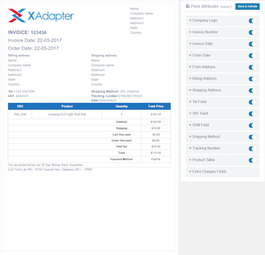 WooCommerce PDF Invoices And Packing Slips Plugin XAdapter - Order invoice