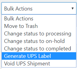 Create UPS Label option in Bulk Actions