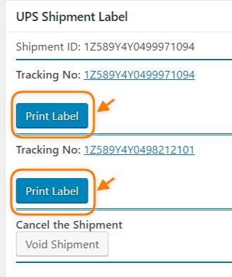 Print Shipping Label option