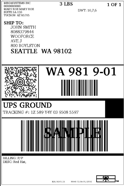 UPS Shipping Label