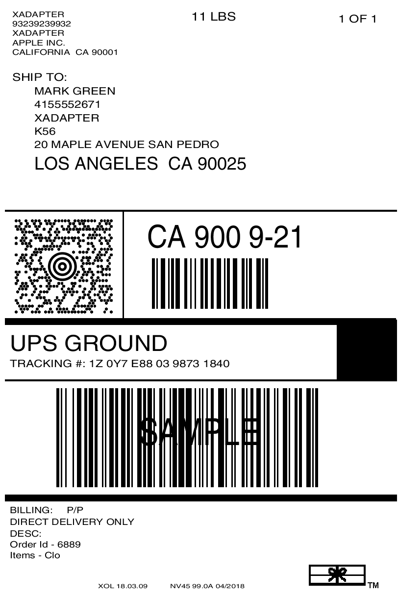 Official UPS Shipping Label