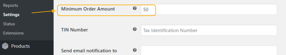 Minimum Order Amount option
