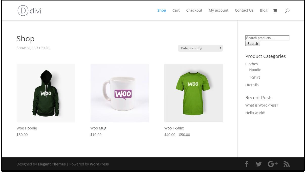 Divi - WooCommerce Catalog Mode | Divi Default Shop Page