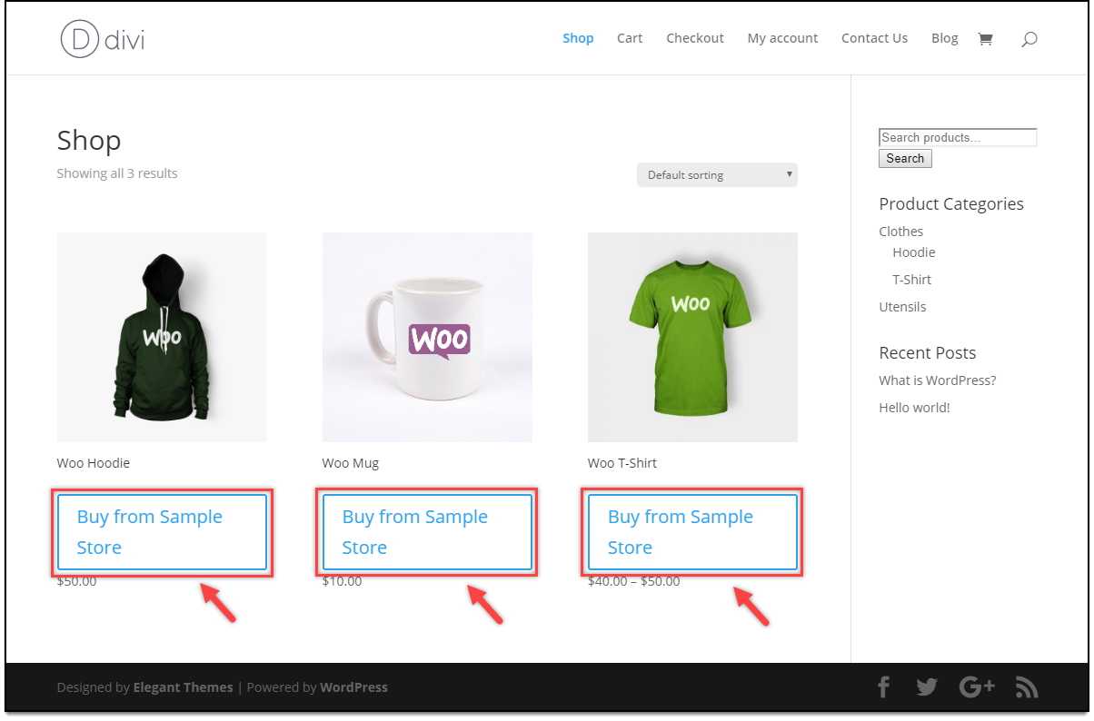 Divi - WooCommerce Catalog Mode | Add to Cart replaced for Customers on the Shop page