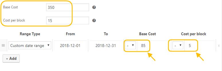 Setting Custom Bookings Cost